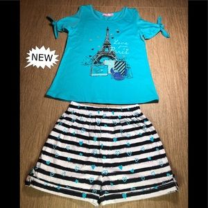 Turquoise'Love From Paris'Tee & Navy Stripe Shorts